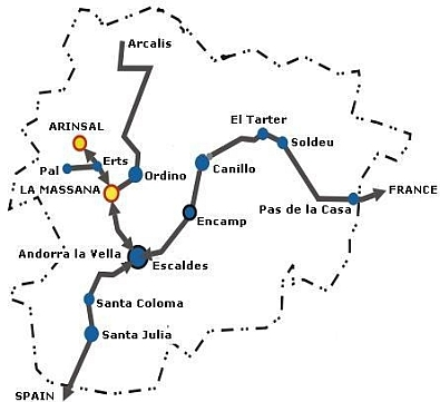 Map of Andorra showing position of Arinsal