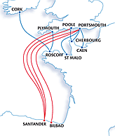 Ferry routes between UK and Spain