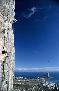 Rock climbing with views over Calpe